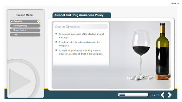 A screenshot of the Alcohol & Drug Awareness Policy course featuring an image of a glass and a bottle of wine.