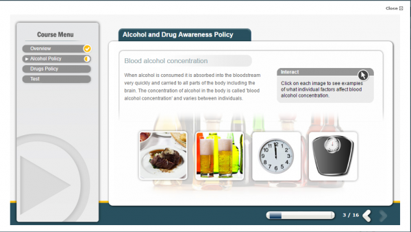 A screenshot of the Alcohol and Drug Awareness E-Learning course, featuring four images of how alcohol can affect your blood alcohol concentration.