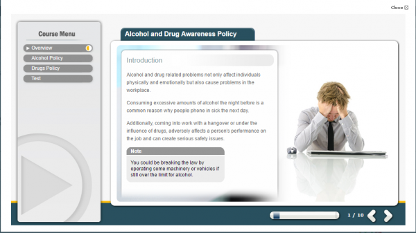 A screenshot of the Alcohol and Drug Awareness Policy E-Learning course.
