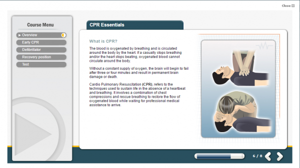 A screenshot of the CPR Essentials E-Learning course. Featuring a person demonstrating chest compression and resuscitation