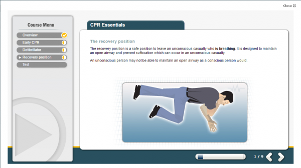 A screenshot of the CPR Essentials E-Learning course, featuring a person in the correct recovery position.