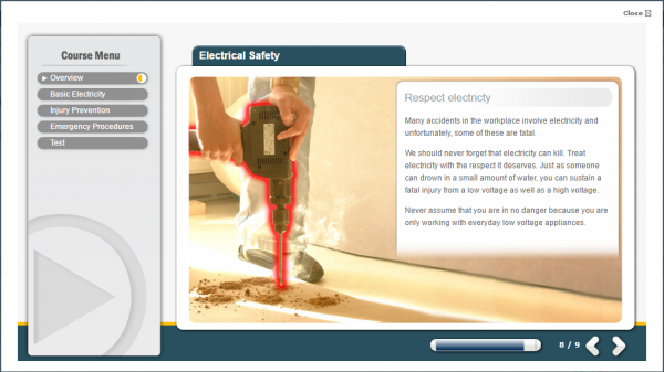 A screenshot of the Electrical Safety E-Learning course. Featuring a person drilling into wood in a safe and secure way.