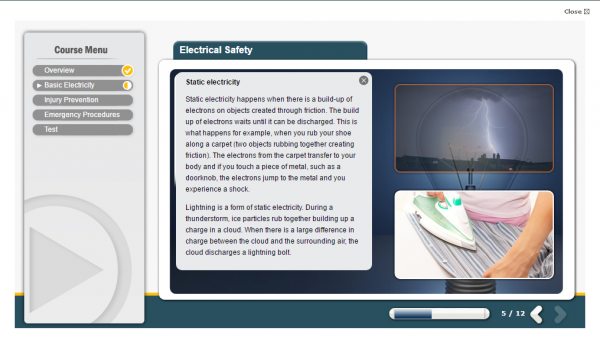 A screenshot of the Electrical Safety E-Learning course featuring a person ironing in a safe manor.