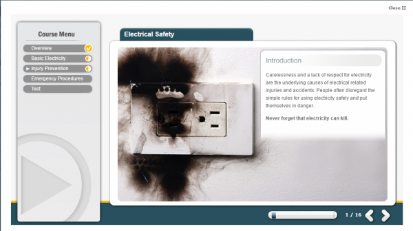 A screenshot of the Electrical Safety E-Learning course. Featuring a burnt socket.
