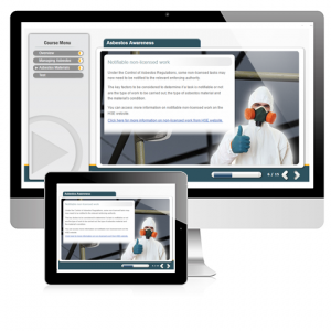 A screenshot image of the Asbestos Awareness E-Learning course displayed on two screens. A person wearing the correct PPE gear to ensure maximum safety.