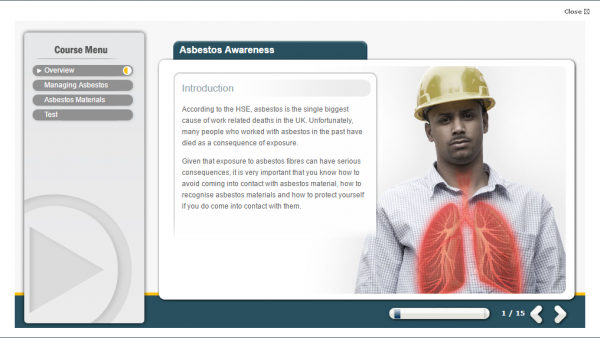 A screenshot of the Asbestos Awareness E-Learning course, featuring an X-Ray example of the damage asbestos can do to your lungs.