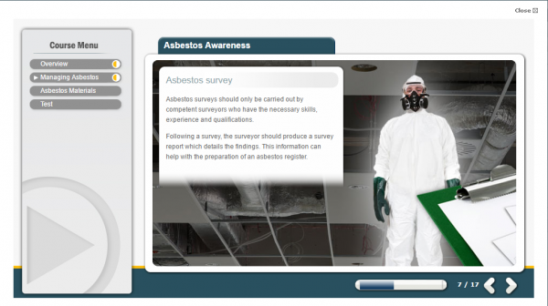 A screenshot of the Asbestos E-Learning course featuring a person wearing a full PPE body protection suit and gas mask