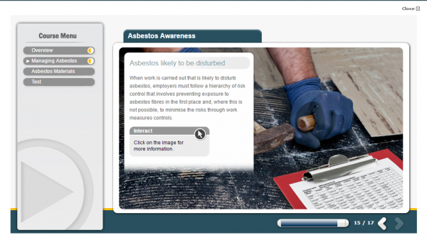 A screenshot of the Asbestos Awareness E-Learning course. With a person working with the correct PPE.