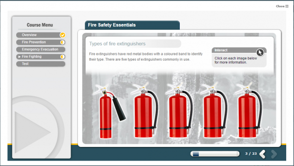 A selection of the various sizes of Fire Extinguishers.