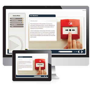A screenshot of the fire warden E-Learning course across two screens - IPad and Apple