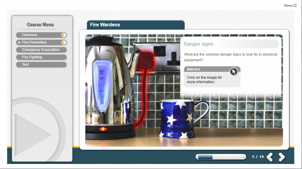 A screenshot of the fire warden E-Learning course