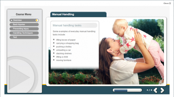 A mother raising her baby up in the air. Showing one example of manual handling on a daily basis.