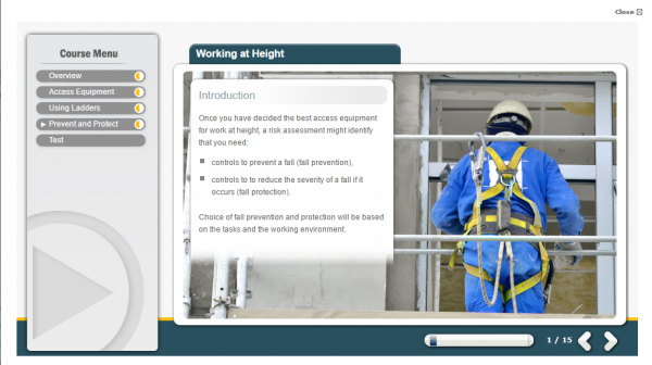 A person working at height, correctly using the safe equipment necessary.