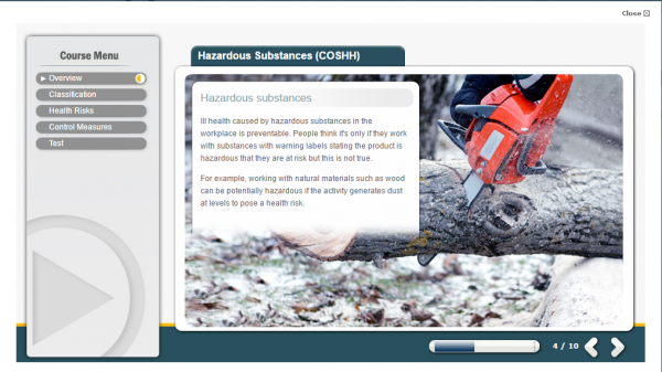 A screenshot of the Hazardous Substances, displaying a red chainsaw cutting through wood.