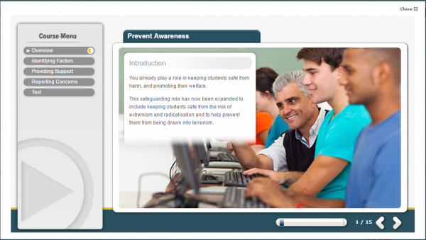 prevent awareness e-learning screenshot. Showing an elderly individual helping a younger person with raising awareness.