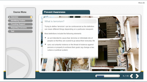 prevent awareness e-learning screenshot. Displaying a destroyed building.