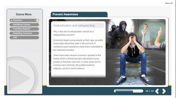 prevent awareness e-learning screenshot. Displaying a stressed teenager in the center and harmful individuals on either side of him.