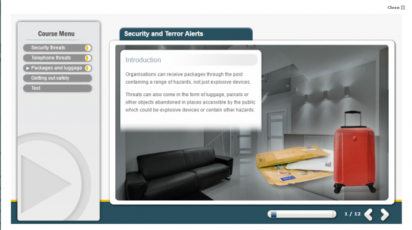 A screenshot from the Security and Terror Alerts E-Learning course. Displaying 3 packages and a red suitcase.