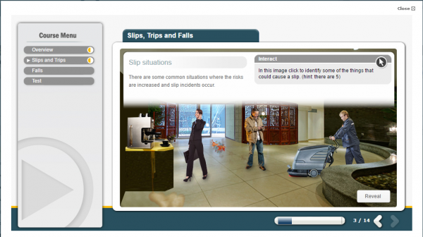 slips, trips and falls e-learning screenshot, displaying three potential hazards.
