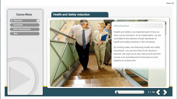 A health and safety induction e-learning screenshot showing two individuals discussing the importance of health and safety within a business.