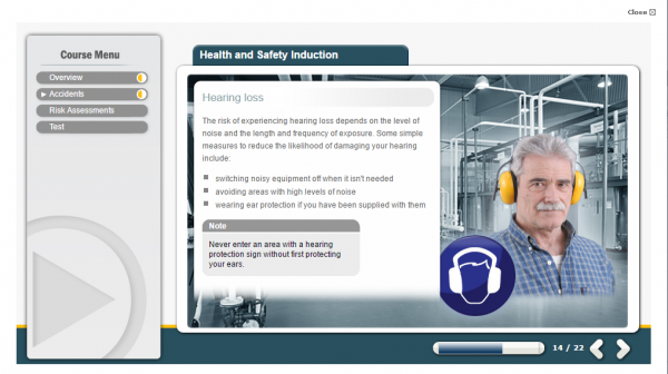 A health and safety induction e-learning screenshot of a man with a grey mustache showing the correct way to wear ear protectors