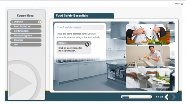 Screenshot from the Food Safety E-Learning course, Displaying three chefs correctly; preparing and serving a client then effectively cleaning afterwards.