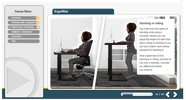 A screenshot of a woman displaying the correct way to either sit or stand whilst working on a PC.